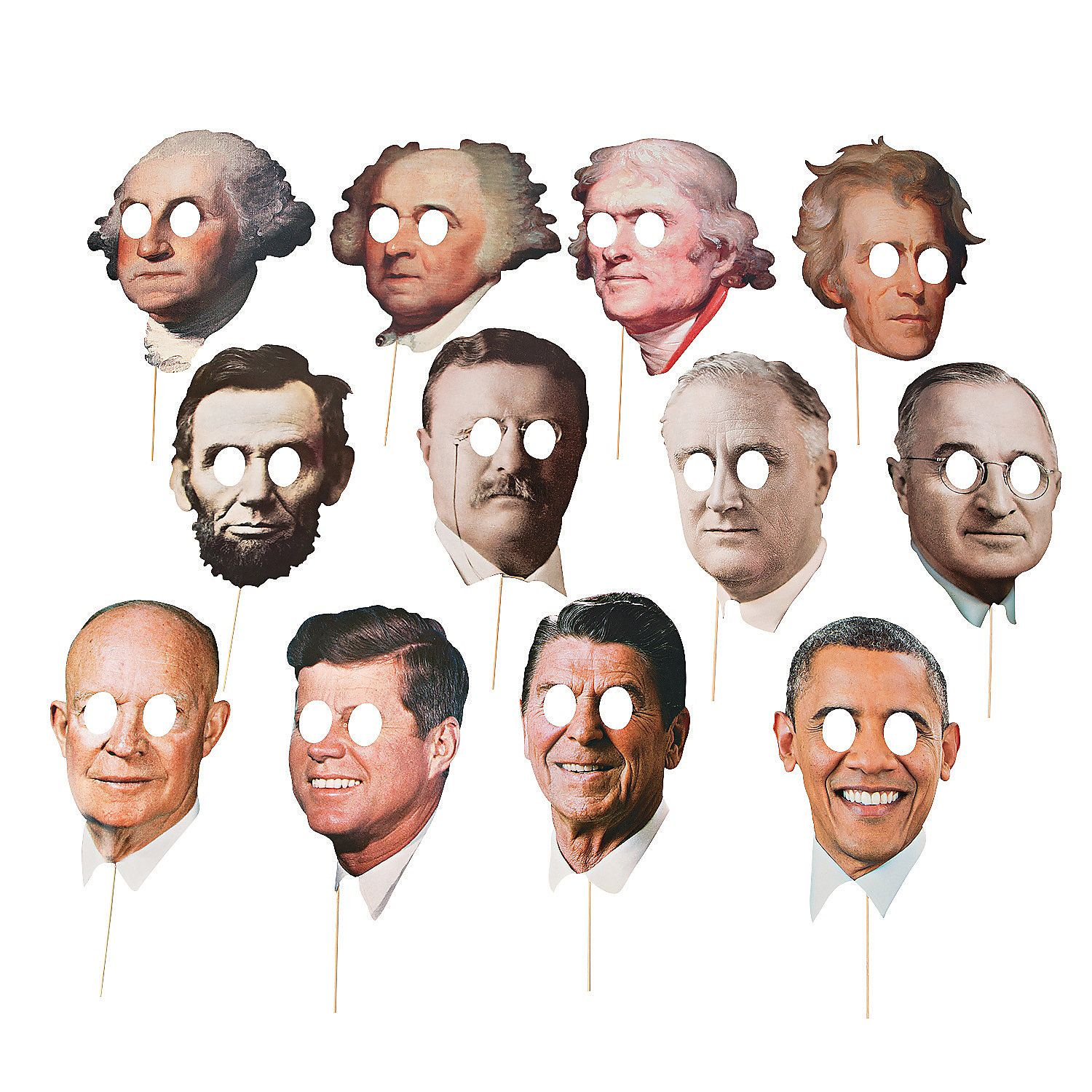 American Presidents Face Masks Set Of 12 Party Fancy