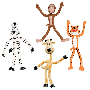 Bendy Jungle Figurines Low Cost Zoo Animal Themed Toys