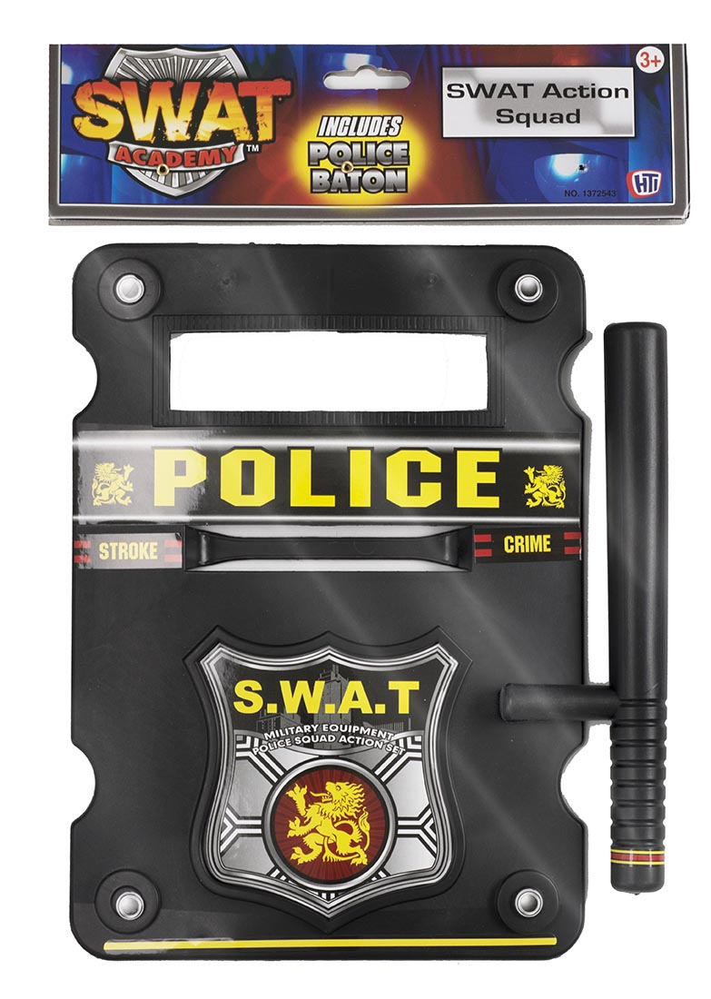 Swat Police Riot Shield And Baton Set Fancy Dress Amp Toy