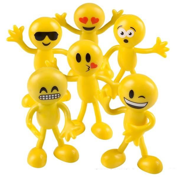 Bendy Emoticon Figurines 6 Pack Low Cost Emoji Themed