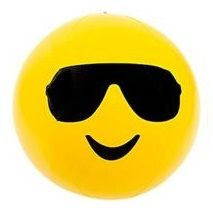 Emoji Beach Ball | Cool Shades Smiley| Emoticon Inflatable