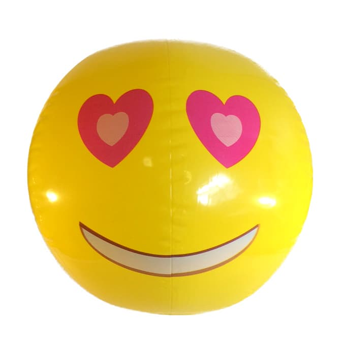 Emoji Beach Ball Heart Eyes Face Emoticon Inflatable