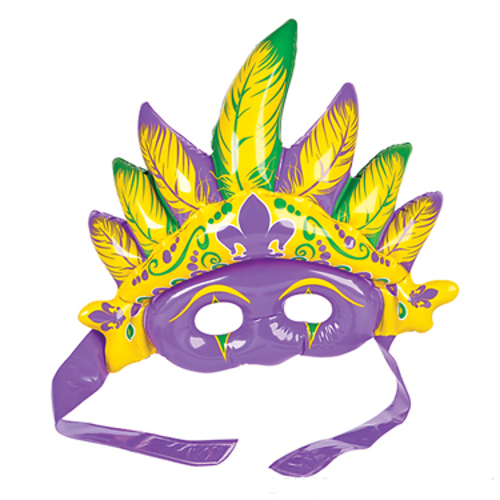 Mardi Gras Mask Inflatable Blow Up Fancy Dress Accessory