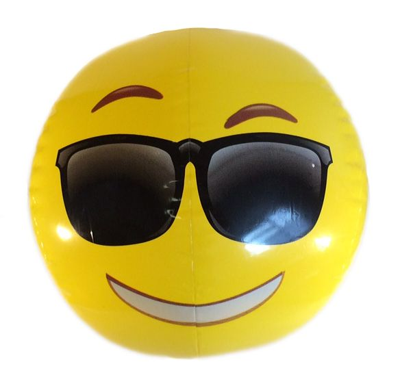 Emoji Beach Ball Cool Sunglasses Face Emoticon Inflatable