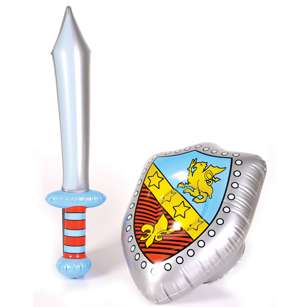 Inflatable Sword And Shield Set Blow Up Fancy Dress Weapons