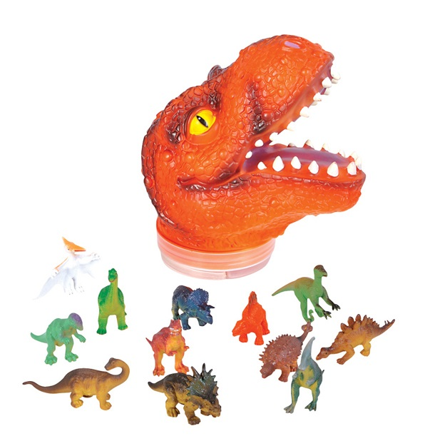 T Rex Dinosaur Storage Head Case 24 Figurines Children